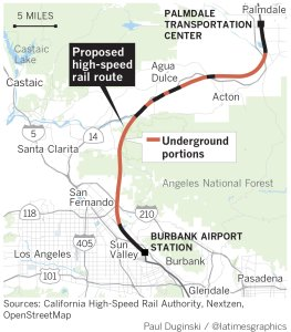 A graphic shows the California High-Speed Rail Authority's staff's proposed route through part of L.A. County, released Sept. 19, 2018. (Credit: Los Angeles Times Graphics)