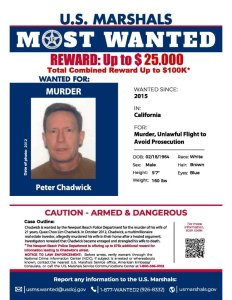 Newport Beach police released this wanted poster of Peter Chadwick on Sept. 19, 2018.