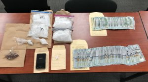 Ventura County sheriff's detectives found four pounds of methamphetamine and two ounces of heroin during a drug investigation that concluded with a traffic stop in Thousand Oaks on Sept. 27, 2018. (Credit: Ventura County Sheriff's Office)