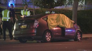 Police investigate a fatal crash in La Habra on Sept. 20, 2018. (Credit: KTLA)