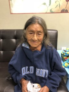 Los Angeles police are seeking the family of the elderly woman pictured in this photo after she was found wandering near MacArthur Park on Sept. 29, 2018.