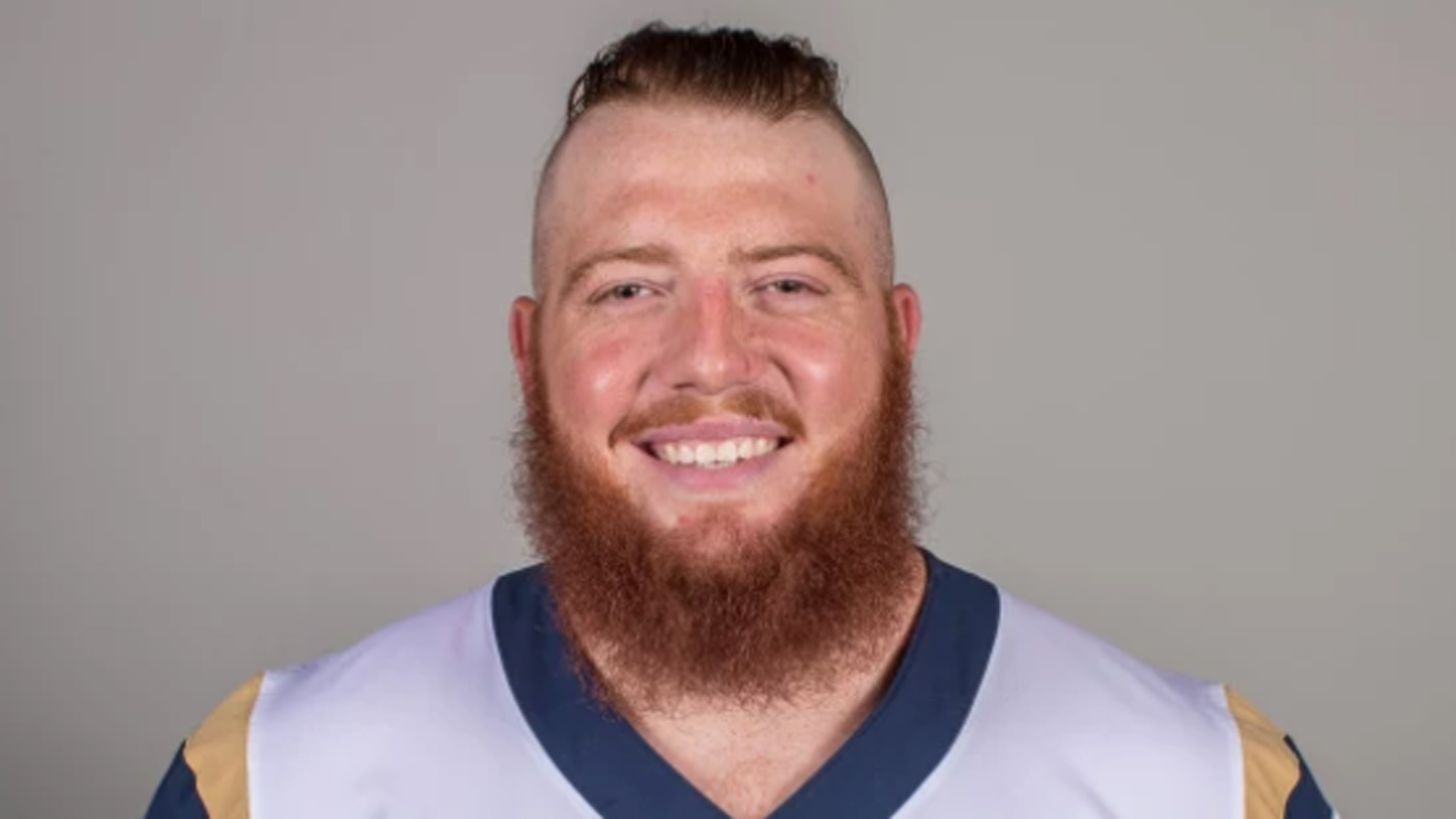 Aaron Neary is shown in an official portrait on the Los Angeles Rams website.