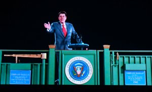Ronald Reagan is recreated via Hologram technology during a media preview on Oct. 10, 2018, at the Ronald Reagan Presidential Library in Simi Valley. (Credit: Frederic J. Brown / AFP / Getty Images)