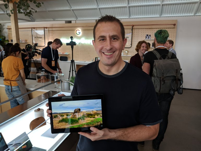 Matt Vokoun holding Google Pixel Slate at Made By Google Event in New York City