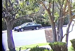 The getaway car used in a June 13, 2018, burglary in Encino is seen in a still from surveillance video released by Los Angeles police on Oct. 19, 2018.
