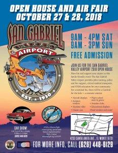 San Gabriel Valley Airport 2018 Air Fair and Open House flier.