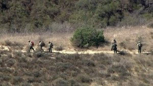 Sky5 aerial footage shows authorities search an area of Malibu Creek State Park on Oct. 17, 2018, after the arrest of a man suspected in burglaries in the area. (Credit: KTLA)