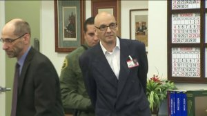 Serial killer Andrew Urdiales arrives in court for sentencing in Santa Ana on Oct. 5, 2018. He was sentenced to death. (Credit: KTLA)