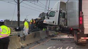 A crash sent a big rig slamming into the center divider on the westbound 210 Freeway near Sierra Madre Villa Avenue on Nov. 22, 2018.