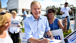 Sen. Bill Nelson (D-FL) attends an election sign waving event on Nov. 5, 2018, in Melbourne, Florida. (Credit: Jeff J Mitchell/Getty Images)