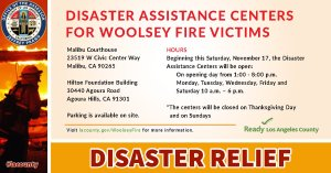 This graphic provided by Los Angeles County officials advertises disaster relief centers for those affected by the devastating Woolsey Fire in November 2018.