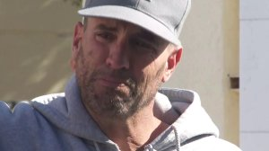 Jason Coffman tearfully speaks with reporters in Thousand Oaks after learning of the death of his son, Cody, on Nov. 7, 2018. (Credit: KTLA)