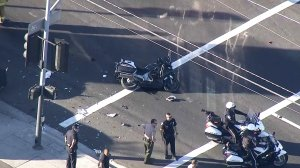 A Gardena Police Department motorcycle officer was critically injured in a crash on Nov. 14, 2018. (Credit: KTLA)