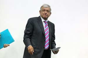Mexico's incoming leftist president Andres Manuel Lopez Obrador gestures before a press conference in Mexico City on October 29, 2018. (Credit: Ulises Ruiz/AFP/Getty Images)