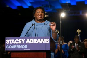 Democratic Gubernatorial candidate Stacey Abrams addresses supporters at an election watch party on Nov. 6, 2018 in Atlanta. (Credit: Jessica McGowan/Getty Images)