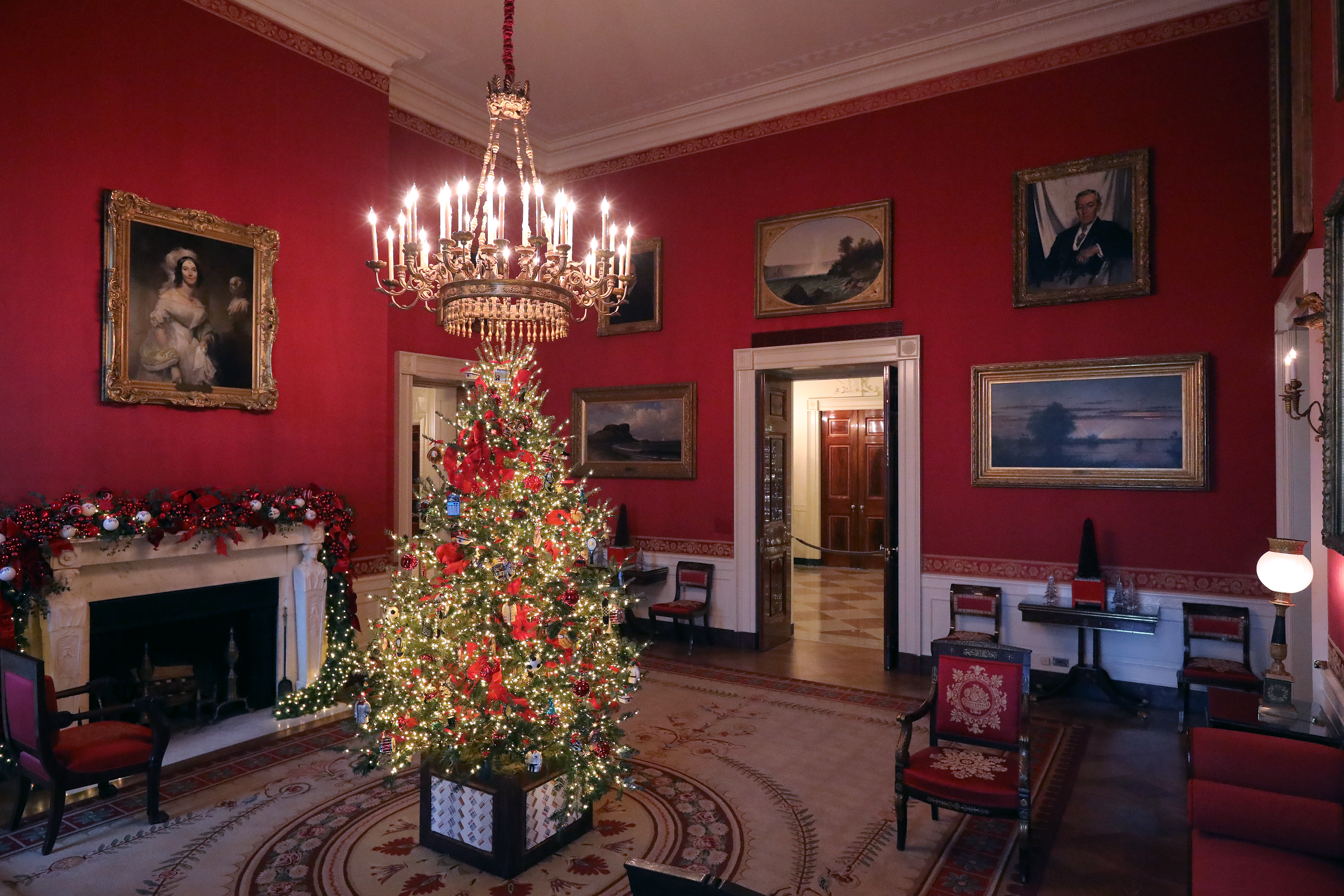 Carrying first lady Melania Trump's 'Be Best' initiative, the Red Room is decorated to 'celebrate children through the décor, which displays ways in which children can excel in their own path' at the White House November 26, 2018 in Washington, DC. (Credit: Chip Somodevilla/Getty Images)