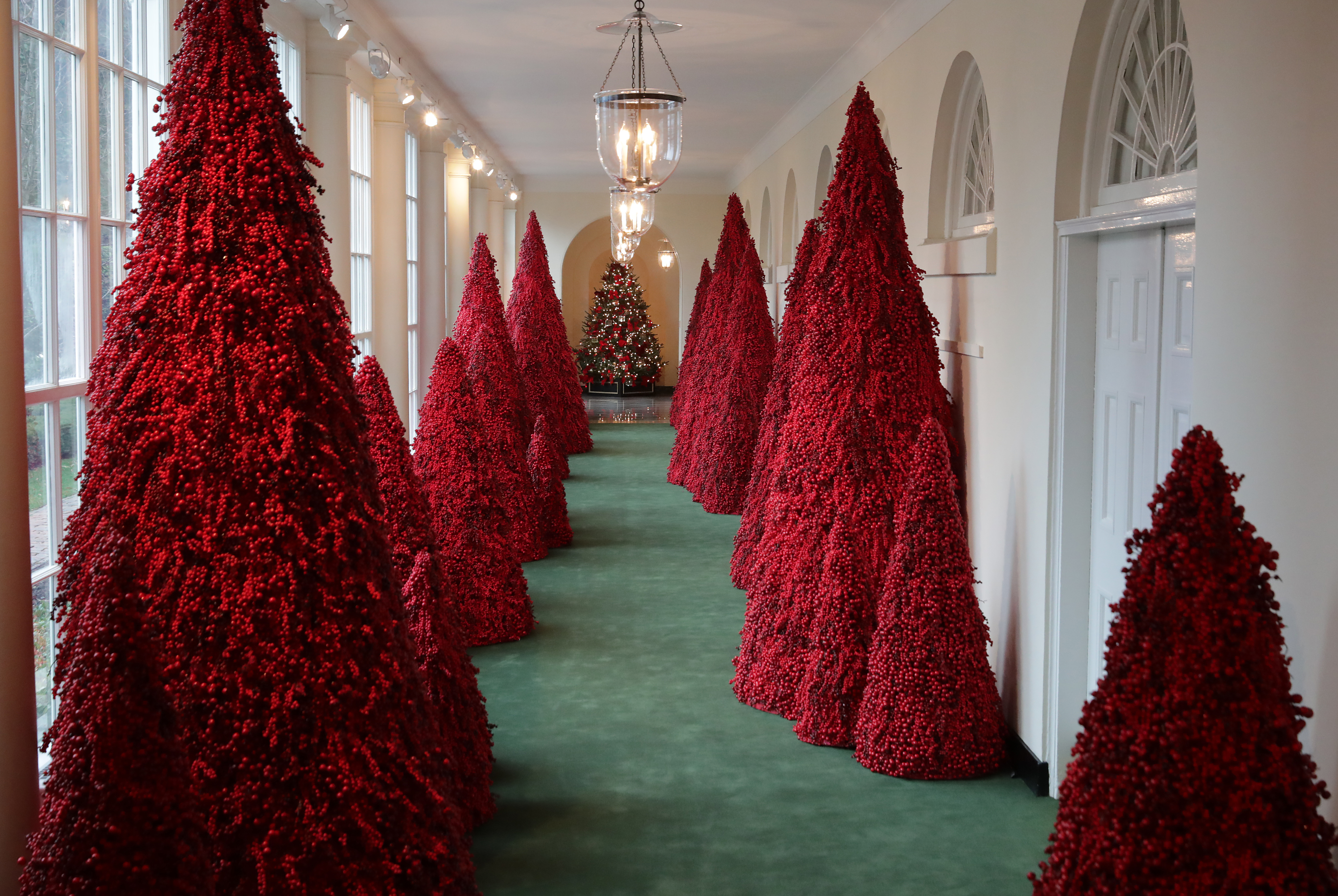 More than 40 red topiary trees line the East colonnade as part of the holiday decorations at the White House November 26, 2018 in Washington, DC. (Credit: Chip Somodevilla/Getty Images)