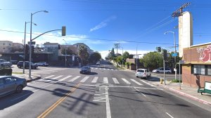 The intersection of Virgil Avenue and 1st Street in Westlake, as pictured in a Google Street View image in March of 2018.