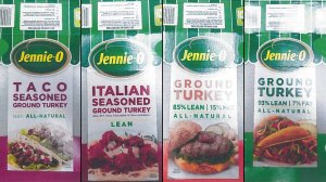Images show packaging for four types of Jennie-O ground raw turkey recalled in November 2018 due to salmonella concerns. (Credit: Hormel)