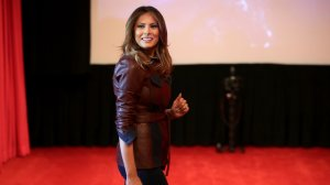 First lady Melania Trump hosts 30 sixth-grade students from Digital Pioneers Academy for a screening of the motion picture 'Wonder' in the White House on Oct. 23, 2018. (Credit: Chip Somodevilla/Getty Images)