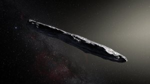Oumuamua, the first observed interstellar visitor to our solar system, is shown in an artist's illustration. (Credit: European Southern Observatory/ESO/M.Kornmesser)