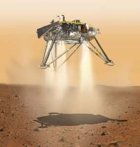 An artist's rendering shows the InSight Mars rover as it would appear moments ahead of its landing on the red planet. (Credit: NASA's Jet Propulsion Laboratory)