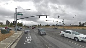 The intersection of Van Buren Boulevard and Jurupa Avenue in Riverside, as seen in a Google Street View image in May of 2018.