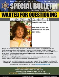 Wanted flier issued by the Los Angeles County Sheriff's Department on Nov. 3, 2018.