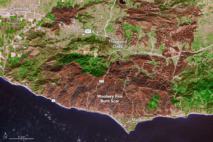 An enhanced infrared image released by NASA on Nov. 18, 2018 shows vegetation burned by the Woolsey Fire in Southern California.