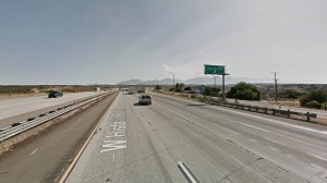 The southbound 15 Freeway, approaching Oak Hills Road, in Hesperia, as pictured in a Google Street View image in June of 2017.