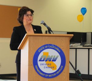 California DMV Director Jean Shiomoto is seen in a photo tweeted by the agency on Nov. 19, 2014.