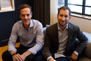 Co-founders of start-up company Juul, Adam Bowen (L) and  James Monsees pose in Paris on Dec. 5, 2018. (Credit: FRANCOIS GUILLOT/AFP/Getty Images)