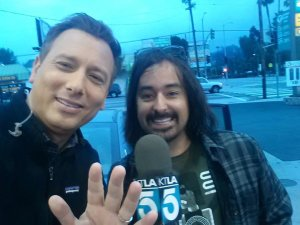 Chris Burrous poses with Jimmy G Castilloo in this undated photo posted to the KTLA Facebook page.