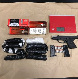 Packages of meth and a reported stolen gun are seen after being seized from a home in Santa Maria on Dec. 19, 2018. The Santa Barbara County Sheriff's Office released the photo on Dec. 21, 2018.