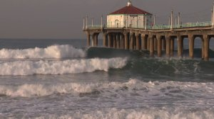 Waves pound the shore at Manhattan Beach on Dec. 16, 2018.