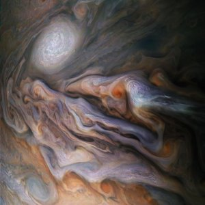 NASA sent the spacecraft Juno to Jupiter in 2011. This is one of the images that was brought back by the spacecraft.