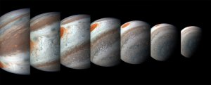 These images were captured by NASA spacecraft Juno it flew close by Jupiter in October 2018. It first left earth see the other planet in 2011. (Credit: NASA)