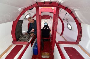 The interior of the large barrel that Jean-Jacques Savin, a 71-year-old Frenchman, will use to sail across the Atlantic Ocean is seen here. He departed from the Canary Islands in late December 2018 and hopes to reach the Caribbean by March 2019. (Credit: Georges Gobet/AFP/Getty Images via CNN)