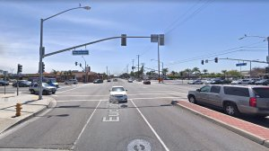 The intersection of Euclid Street and Westminster Boulevard in Garden Grove, as viewed in a Google Street View image in April of 2018.