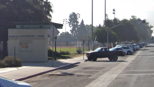 A Google Maps image shows the Franklin D. Roosevelt Park in South Los Angeles.