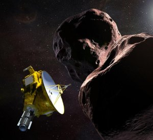 An artist's rendering depicting NASA's New Horizons space probe encountering Ultima Thule, at the edge of the solar system about 4 billion miles away. (Credit: NASA)
