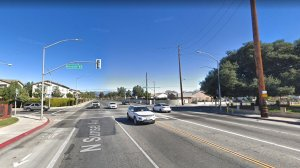 The intersection of Fairgrove and Sunset avenues in West Covina, as seen in a Google Street View Image in January, 2018.