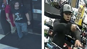 """A robbery suspect police are calling the """"Silver Revolver Bandit,"""" pictured in surveillance camera images from crimes that took place Sept. 9 in Riverside (left) and Dec. 5 in Riverside (right). He's also suspected in three additional armed robberies. (Credit: Riverside Police Department)"""