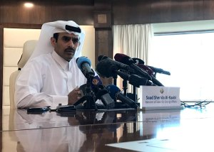 Saad Sherida Al-Kaabi, Qatari Minister of State for Energy Affairs, speaks during a press conference in the capital Doha on December 3, 2018. - Qatar is to leave OPEC next month in order for the Gulf state to focus on gas production, Energy Minister Saad al-Kaabi announced at a Doha press conference. (Credit: Anne Levasseur/AFP/Getty Images)