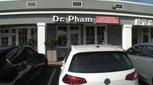 Dr. Dzung Pham's office at Irvine Village Urgent Care is shown on Dec. 18, 2018, when federal charges against him were announced. (Credit: KTLA)
