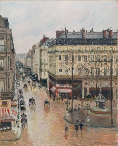 """An image of """"Rue St.-Honore, Apres-Midi, Effet de Pluie,"""" by Camille Pissarro is taken from the Thyssen-Bornemisza Museum in Madrid. (Credit: MuseoThyssen.org)"""