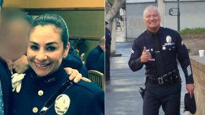 Los Angeles Police Department Central Division Senior Lead Officer Officer Danny Reedy, left, and Robbery-Homicide Division Detective Ysabel Villegas, right. (Credit: @LAPDCentral on Twitter/@LAPDOCB on Twitter)