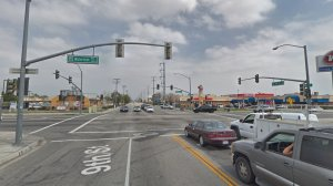 The intersection of 9th Street and Waterman Avenue, as viewed in a Google Street View image in April of 2018.