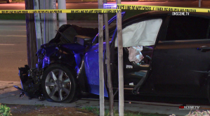 The Acura SL driven by a man accused of drunken driving in a crash that killed another man is seen following the incident on Dec. 2, 2018, in Santa Ana. (Credit: OnScene.TV)