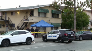 Authorities respond to investigate a homicide in Monrovia on Dec. 5, 2018. (Credit: LoudLabs)